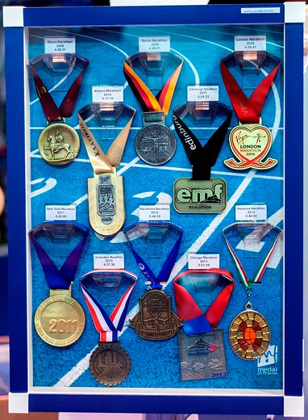 bergamo half marathon 2014 medal in frame