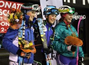 il podio junior femminile con Giulia Compagnoni, Giulia Murada e Mara Martini