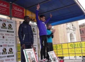 Il podio maschile della Maratona di Reggio Emilia