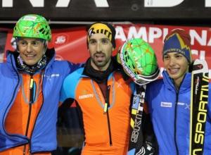 il podio senior con Robert Antonioli, Michele Boscacci e Nadir Maguet