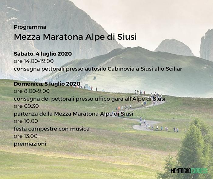 mezza maratona alpe di siusi 2020 programma