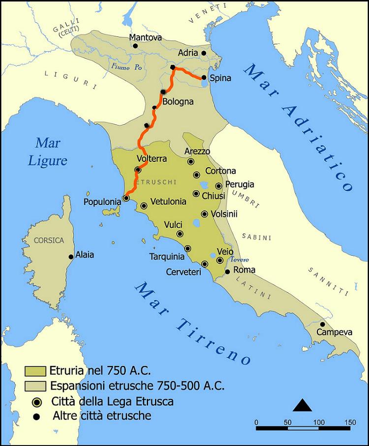 ciclovia degli etruschi mappa itinerario